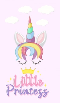 Little princess logo in pastel color with cute unicorn