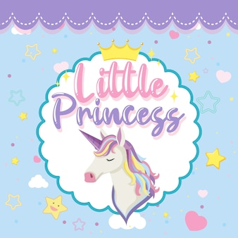 Little princess logo with cute unicorn head on blue background