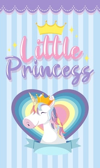 Little princess logo with cute unicorn head on blue stripe background
