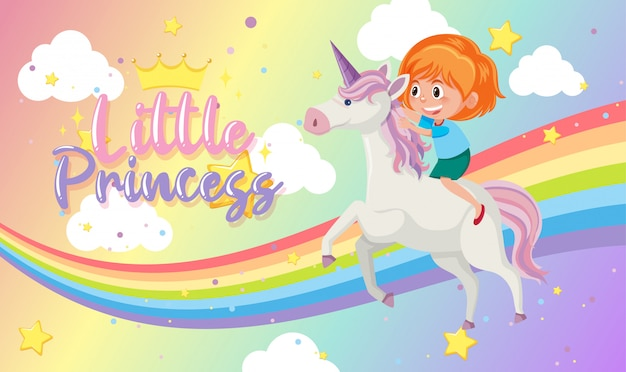 Little princess logo with girl riding on unicorn on blank rainbow pastel background