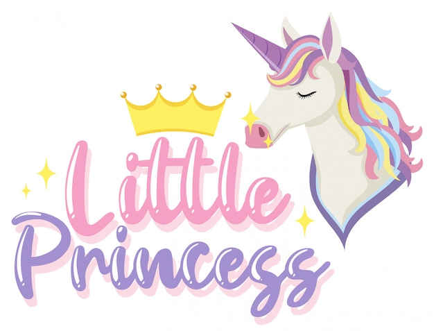 Little princess logo with unicorn in pastel color with sparkling