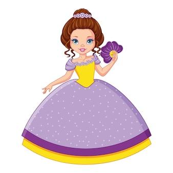 Маленькая принцесса фиалок, векторные иллюстрации шаржа
