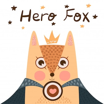 Little princess - super hero fox illustration.