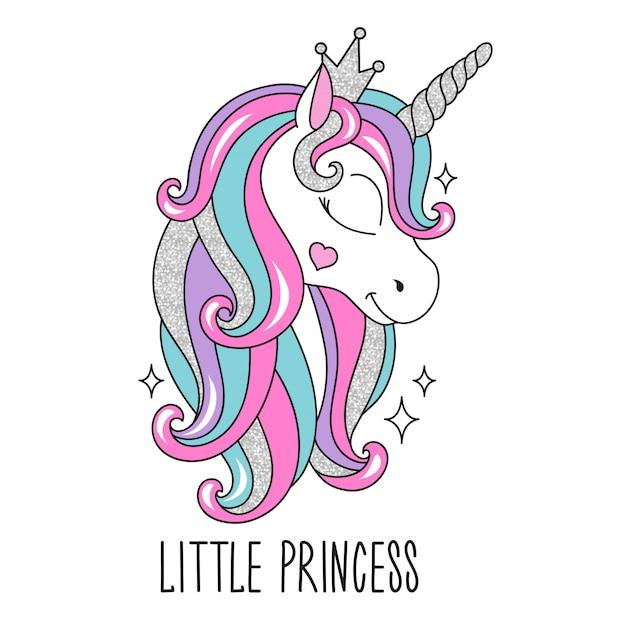 Маленькая принцесса единорог иллюстрация в современном стиле