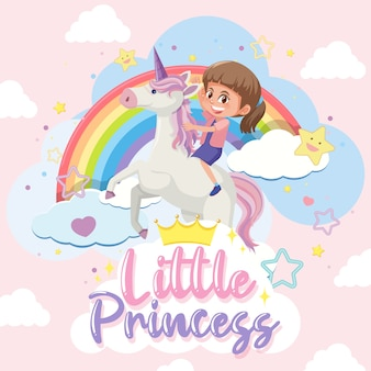 Little princess with girl riding unicorn on pink and blue pastel background