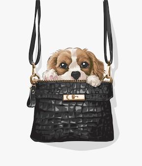 Маленький щенок в черной кожаной сумочке иллюстрации