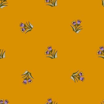 꽃 테마에 작은 보라색 벨 완벽 한 패턴입니다. 오렌지 배경입니다. 미니멀리즘 스타일. 여름 시간 인쇄. 포장지 및 패브릭 질감을 위한 그래픽 디자인. 벡터 일러스트 레이 션.