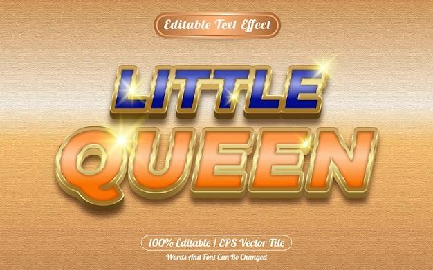 Little queen editable text effect golden themed