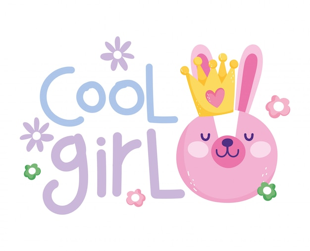 Little rabbit face with crown cool girl cartoon cute text