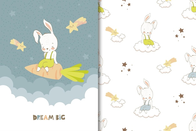 Little rabbit greeting card and seamless pattern