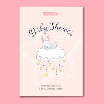 Little rabbit sleeping on the cloud baby shower card
