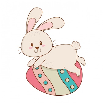 Little rabbit with egg painted easter character