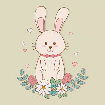 Little rabbit with floral decoration easter character