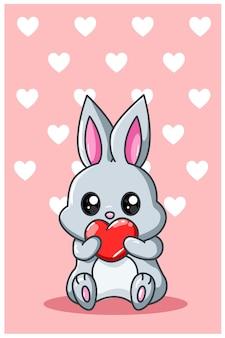 Маленький кролик с сердцем каваи иллюстрации шаржа