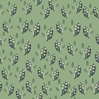 Little random rowan berries and foliage seamless doodle pattern. pastel green background