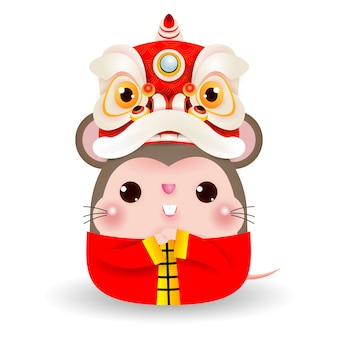 Little rat with lion dance head, happy chinese new year 2020 year of the rat zodiac