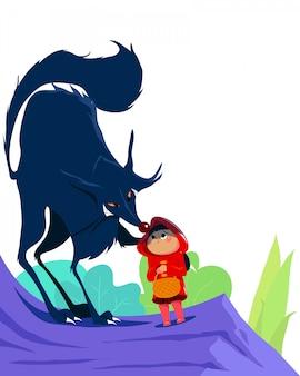 작은 빨간 승마 후드와 숲에서 늑대. 흰색 배경에 고립입니다. 아동 도서