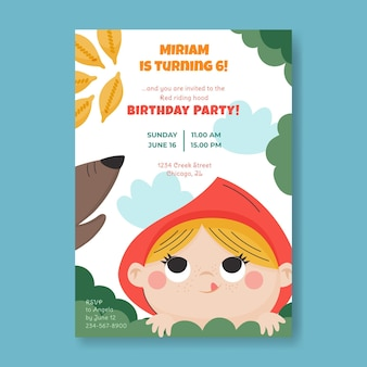 Invito di compleanno cappuccetto rosso red
