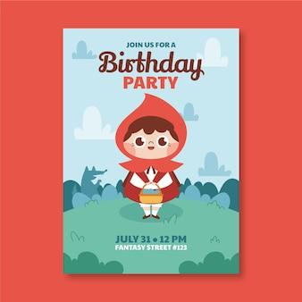 작은 빨간 승마 후드 생일 초대장