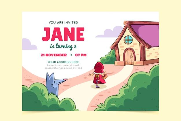 小さな赤い乗馬フードの誕生日の招待状