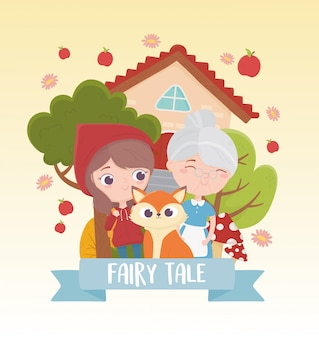 Little red riding hood granny and wolf fairy tale cartoon illustration