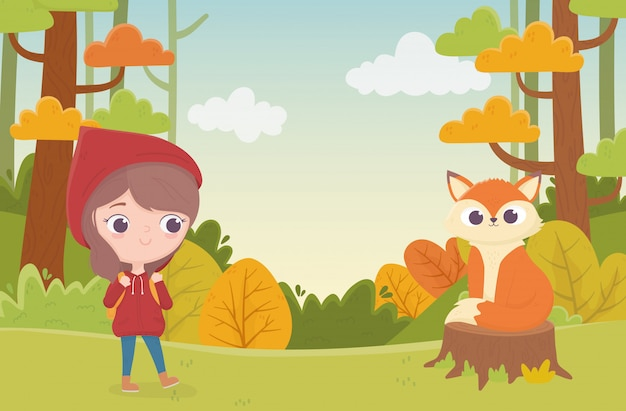 Little red riding hood and sitting wolf in trunk forest fairy tale cartoon illustration