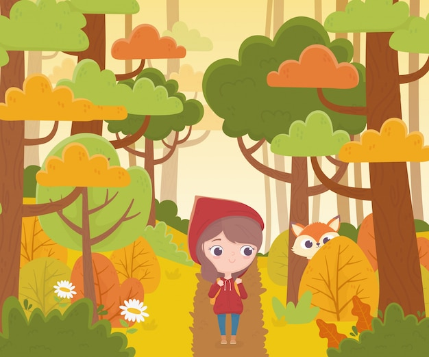 Little red riding hood walking in the forest and wolf watching fairy tale cartoon illustration