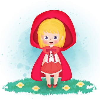 Little red riding hood in water color style.