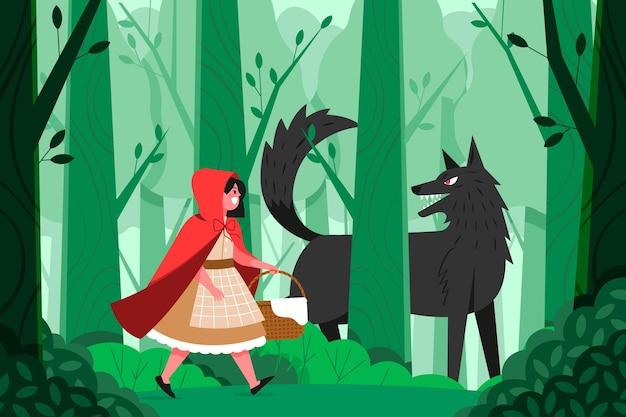 늑대 일러스트와 함께 작은 빨간 승마 후드