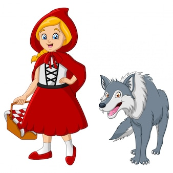 Little red riding hood with wolf