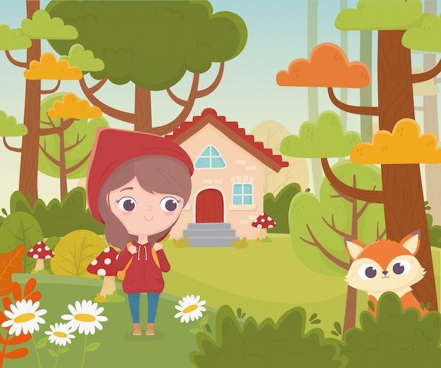 Little red riding hood and wolf house forest vegetation fairy tale cartoon illustration
