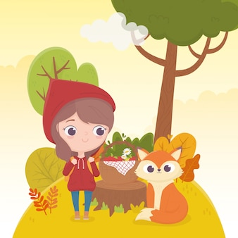 Little red riding hood and wolf with basket food forest fairy tale cartoon illustration