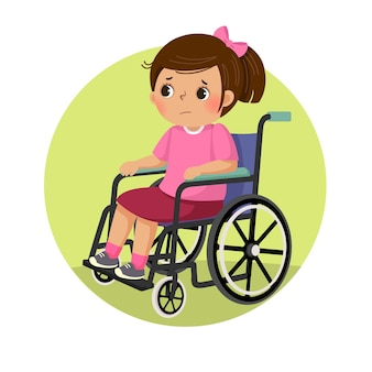 Little sad disabled girl in a wheelchair