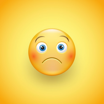 A little sad face of emoticons with a slight frown and neutral eyes on a yellow background. a sad little man