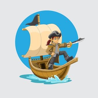 カットラスの剣で指さしている小さな船乗り