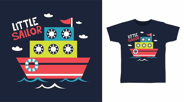 Little sailor ship for t shirt design