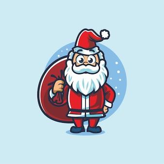 クリスマス漫画のマスコットデザインのリトルサンタ