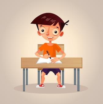 Маленький школьник учится