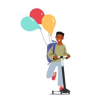 スクーターに乗ってバックパックと風船を持つ小さな男子生徒。新しい教育年の始まりに幸せな陽気なアフリカ系アメリカ人の学生の子供のキャラクター。学校に戻る。漫画の人々のベクトル図