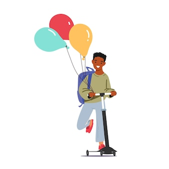 Little schoolboy with backpack and balloons riding scooter. cheerful african american student child character happy to new educational year start. back to school. cartoon people vector illustration