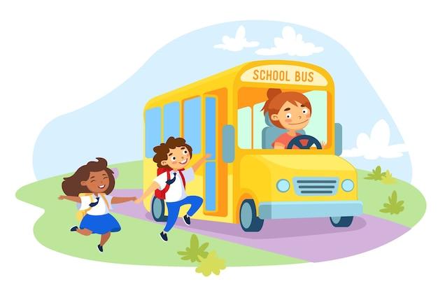 Little schoolkids character holding hands wearing rucksack