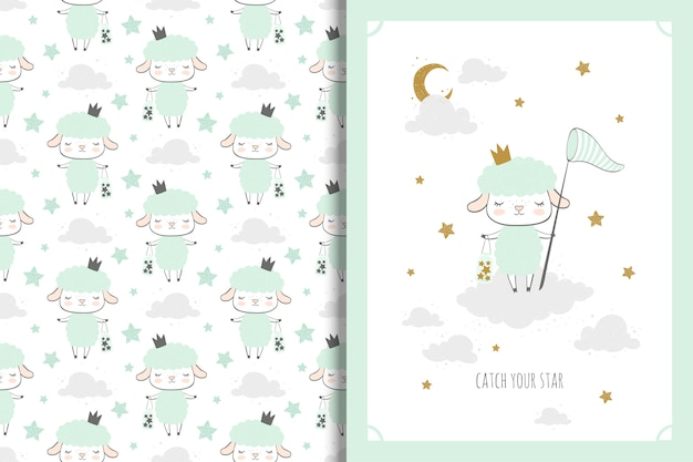 Little sheep card and seamless pattern for kids