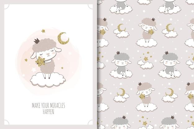 Маленькая овечка с иллюстрацией звезды. карта мультфильм животных и бесшовный фон