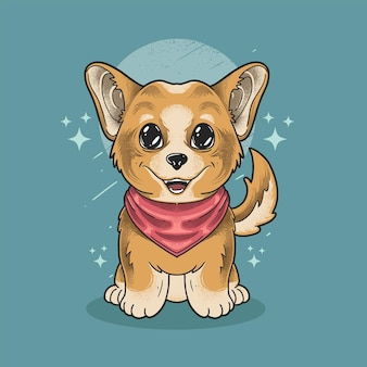 Little shiba dog wear scarf grunge style illustration vector