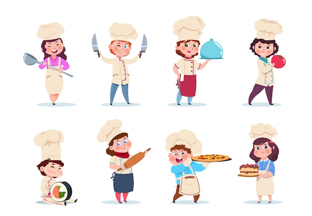 Little smiling boy and girl kitchen workers with dishes and cooking tools set