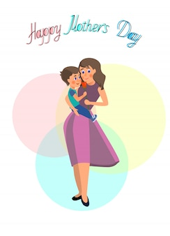 Little son give flowers to mom on mother's day. vector in flat style on white background.