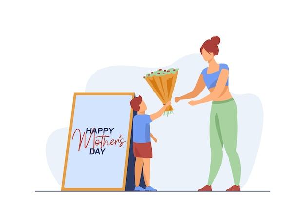 Piccolo figlio che dà i fiori alla giovane madre. regalo, genitore, bambino illustrazione vettoriale piatta. vacanze, genitorialità e famiglia
