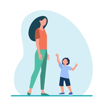 Little son reaching arms to his mom. woman and kid walking together flat illustration.