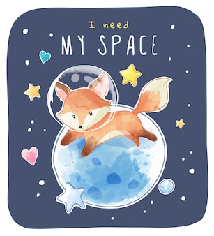 Little space fox with planet and stars illustration