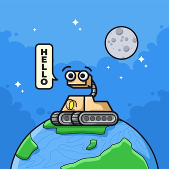 Little space robot explorer saying hello in cute line art illustration style